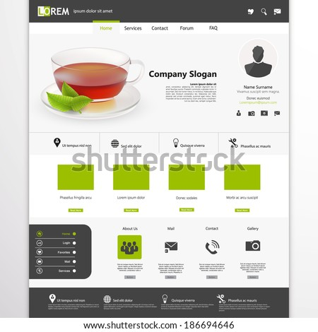 Website Template with photorealistic tea cup and mint.  - stock vector