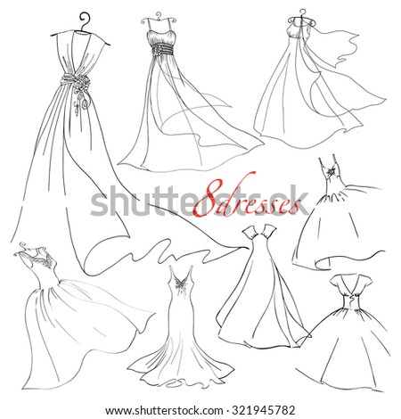 8 wedding dresses vector set. Fashion bride Dress made in modern style.  Bridal shower