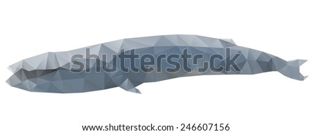 Whale animal in triangle style. Origami silhoette - stock vector