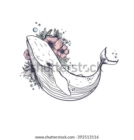 Whale. Most sea, ocean fish, mammals. Big blue . - stock vector