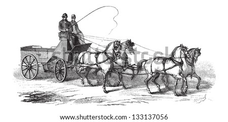 4-wheeled Wagon drawn by 4 Horses, vintage engraved illustration. Le Magasin Pittoresque - 1874 - stock vector