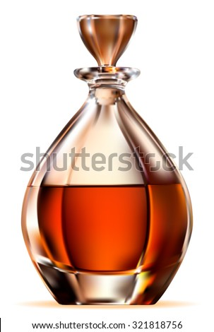 Whisky bottle on white background. Vector EPS-10 - stock vector
