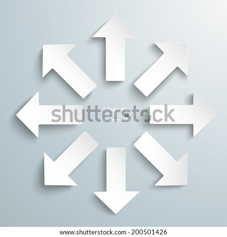 8 white arrows on the grey background. Eps 10 vector file. - stock vector