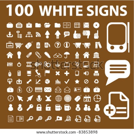 100 white icons, signs, vector illustrations set - stock vector