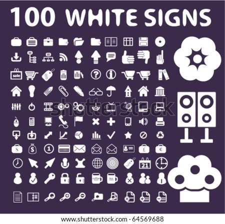 100 white signs. vector - stock vector