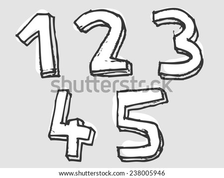 12345 white stained set of numbers or digits with doodle sketched rough outlines and dimension, design element on grey - stock vector
