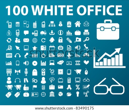100 white web office icons, signs, vector illustrations set