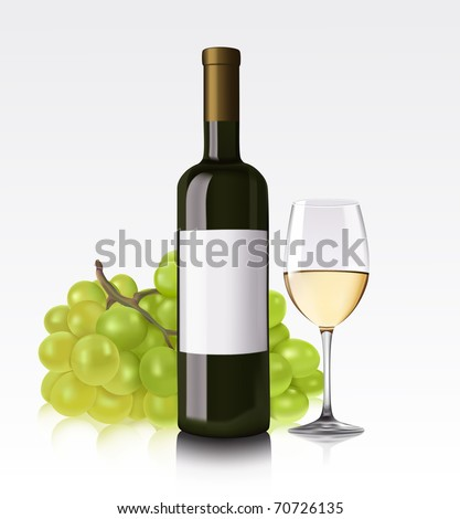 White wine bottle, glass and grape