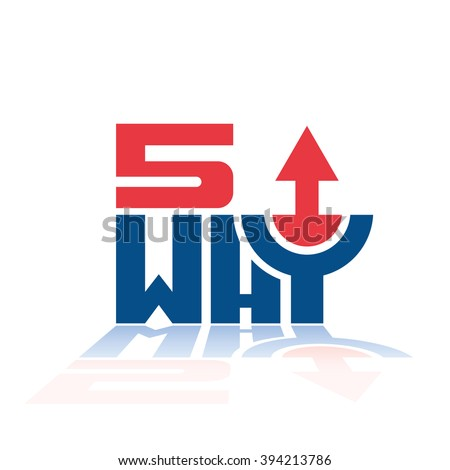 5 why quality tool process improvement method up arrow trend vector design illustration - stock vector