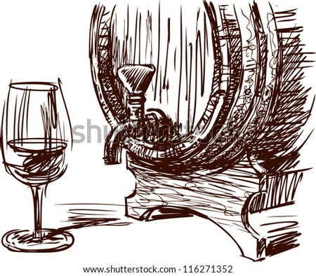 wine barrel and glass - stock vector