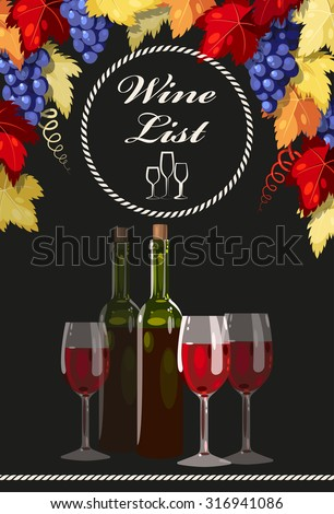 Wine list with bottles and glasses of wine - stock vector
