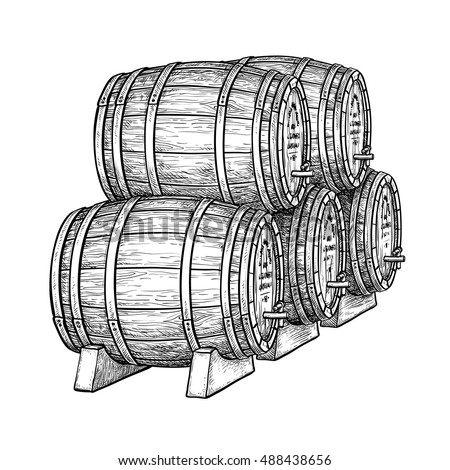 Wine or beer barrels isolated on white background. Vector illustration.