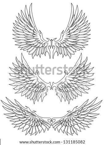 3 wings in black and white fill - stock vector