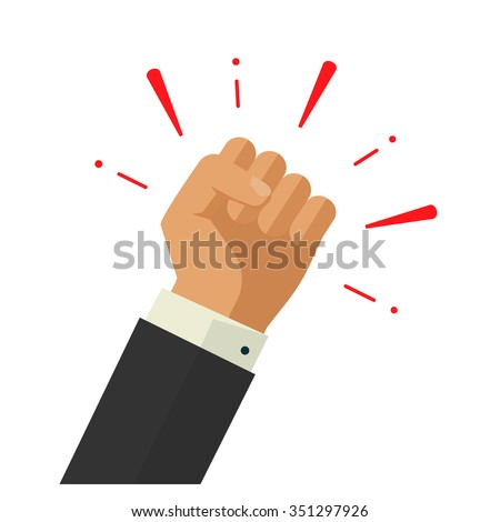 Winner hand up fist vector sign concept, banking workers, employees revolution against leadership sticker, politics achievement, businessman shouting logo label design illustration isolated on white - stock vector