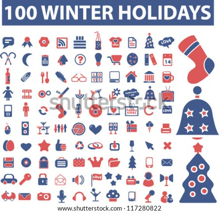 100 winter & christmas holidays icons set, vector - stock vector