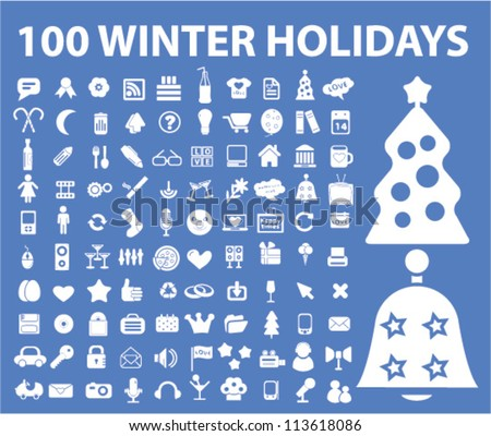 100 winter holidays icons set, vector - stock vector