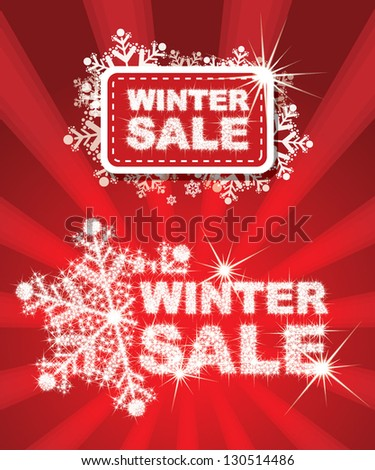 Winter Sale Set - combine by sparkle star - stock vector