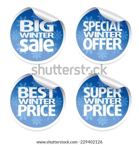 Winter set sale stickers ,vector - stock vector