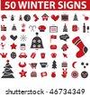 50 winter signs. vector - stock