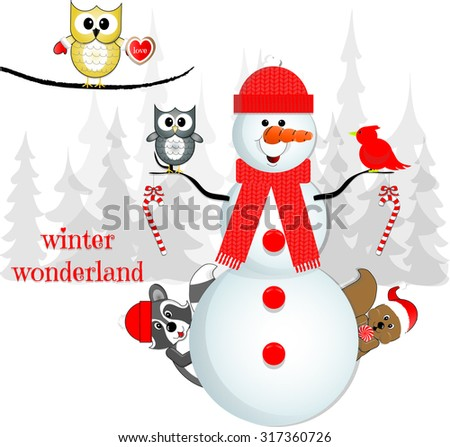 """""""Winter Wonderland"""" Snowman and His Forest Friends in Snowy Scene - stock vector"""