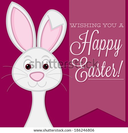 """Wishing you a Happy Easter"" retro style bunny card in vector format. - stock vector"