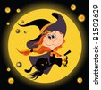 Witch halloween girl and black cat. The vector art illustration - stock photo
