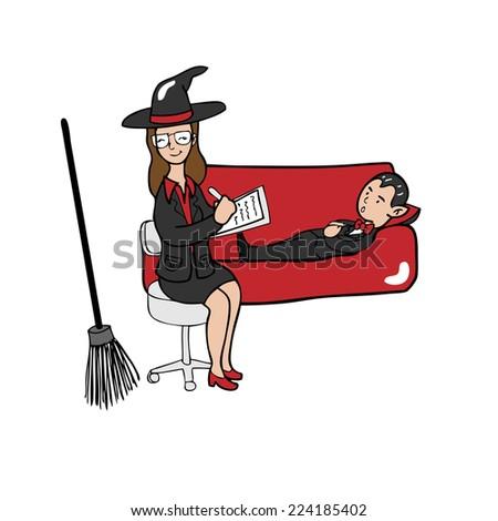Witch psychiatrist vampire cartoon vector - stock vector