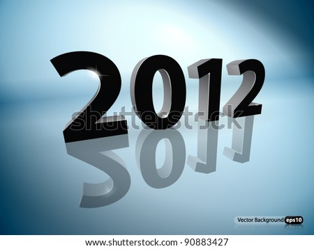 2012 with 2011 reflection. - stock vector