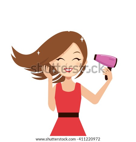 Woman drying her hair with hairdryer. Vector cartoon illustration. - stock vector