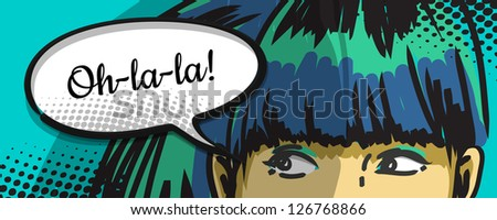 woman peeking out, cartoon comics speech bubble, vector drawing - stock vector