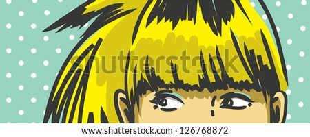 woman peeking out vector drawing, retro polka dots background - stock vector