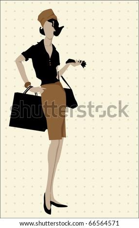 woman vintage silhouette illustration - stock vector