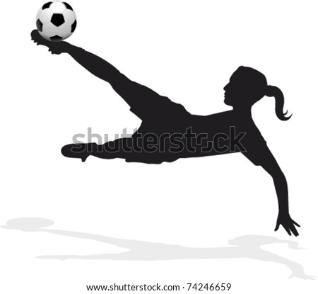 women's soccer player, bicycle kick - stock vector
