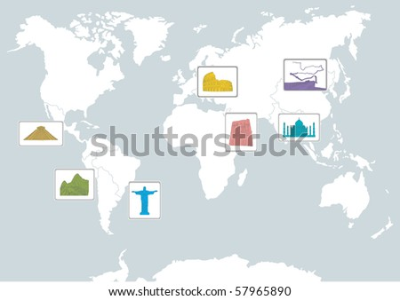 7 wonders on the world map - stock vector