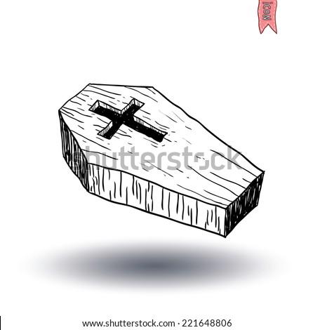 Wooden coffin. vector illustration. - stock vector