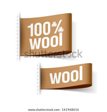 100% wool product clothing labels. Vector. - stock vector