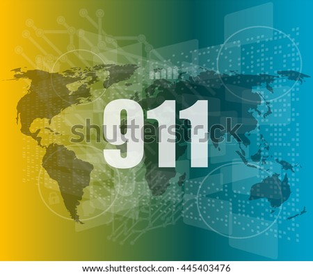 911 words on digital touch screen interface vector quotation marks with thin line speech bubble. concept of citation, info, testimonials, notice, text box. flat style - stock vector