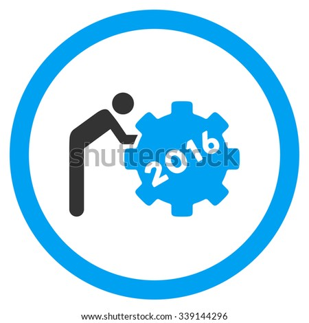 2016 Working Man vector icon. Style is bicolor flat circled symbol, blue and gray colors, rounded angles, white background. - stock vector