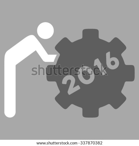 2016 Working Man vector icon. Style is bicolor flat symbol, dark gray and white colors, rounded angles, silver background. - stock vector