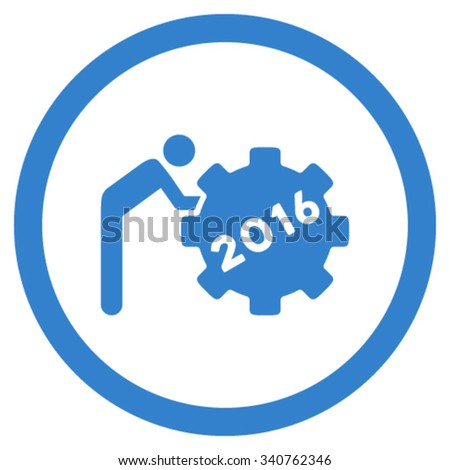 2016 Working Man vector icon. Style is flat circled symbol, cobalt color, rounded angles, white background. - stock vector