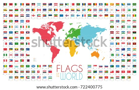 204 world flags world map by stock vector 722400775 shutterstock 204 world flags with world map by continents vector illustration gumiabroncs Images