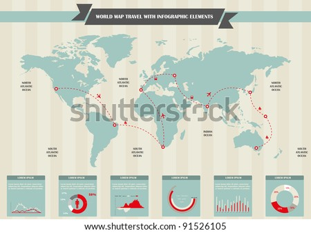 World travel Map and Information Graphics. Set elements of infographics.