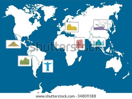 7 world wonders on the map - stock vector