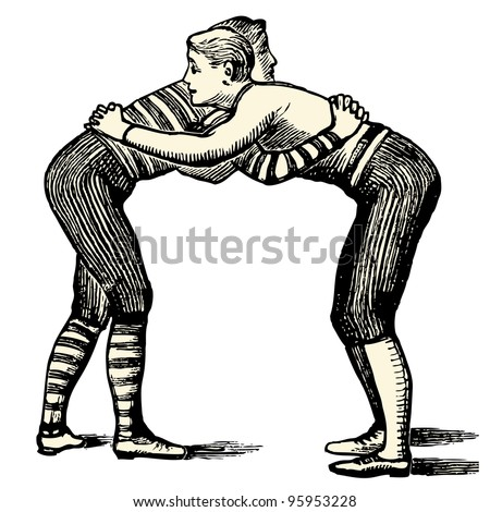 "Wrestlers - vintage engraved illustration - ""Dictionnaire encyclopedique universel illustration"" By Jules Trousset - 1891 Paris"