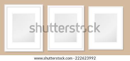 16x20  Double Mats & Frame for 11x14 Photo Art. 3 frame widths: .5, 1, & 1.5 inch. Fully customizable. - stock vector