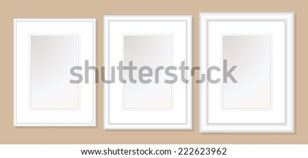 12x16  Double Mats & Frame for 8x12 Photo Art. 3 frame widths: .5, 1, & 1.5 inch. Fully customizable. - stock vector