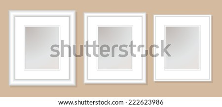 12x14  Double Mats & Frame for 8x10 Photo Art. 3 frame widths: .5, 1, & 1.5 inch. Fully customizable. - stock vector