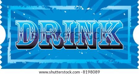 2x1 Drink ticket - stock vector