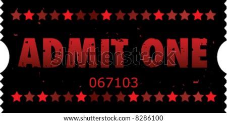 2x1 Grunge Vector Movie Ticket - stock vector