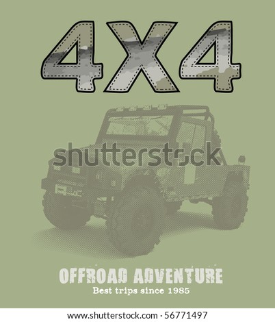 4x4 offroad adventure print and application - stock vector